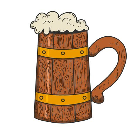 Illustration of retro wooden mug of beer in engraving style.