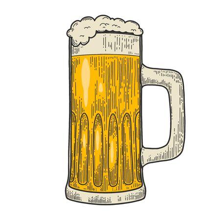 Illustrations of mug of beer in engraving style. Design element for label, emblem, sign. Vector illustration Ilustracje wektorowe