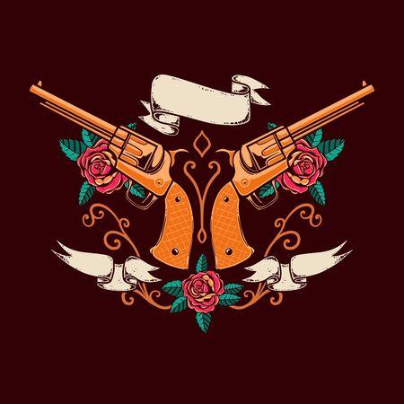 Vintage emblem template with revolvers, roses and ribbons. Design element for logo, label, sign, poster, t shirt. Vector illustration