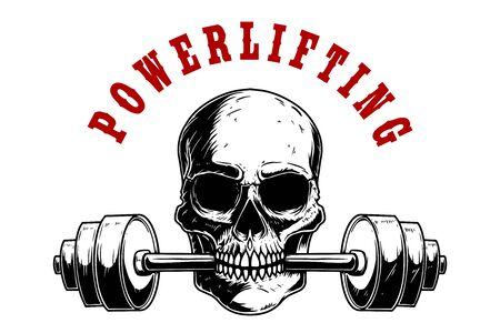 Powerlifting. Illustration of human skull with barbell in his teeth. Design element for poster, card, banner, emblem, t shirt. Vector illustration Illustration