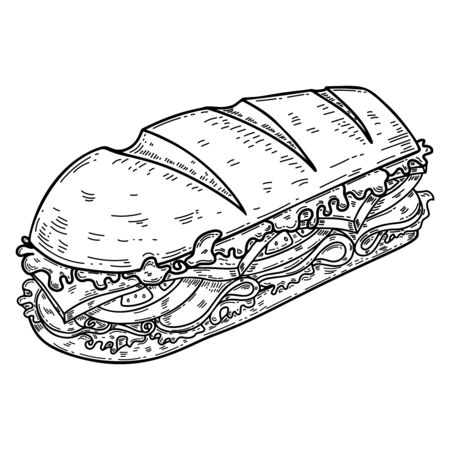 Illustration of submarine sandwich in engraving style. Design element for poster, card, banner, flyer. Vector illustration