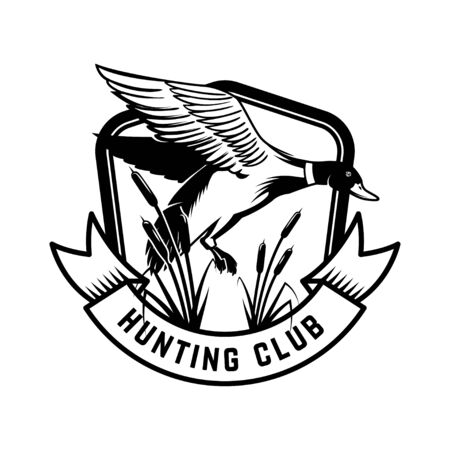 Hunting club. Emblem template with wild duck. Design element for poster, card, banner, flyer. Vector illustration 向量圖像