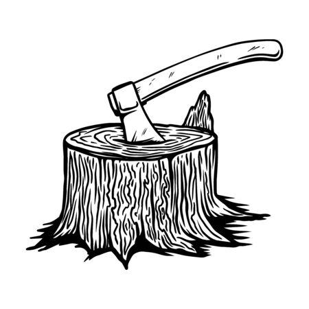 Illustration of lumberjack ax in a wooden deck in engraving style. Design element for emblem, sign, poster, card, banner, flyer. Vector illustration Illustration