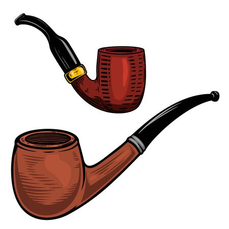Set of Illustration of smoking pipe in engraving style. Vecteurs