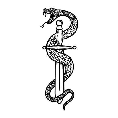 Vintage design with snake on dagger. For poster, banner, emblem, sign.
