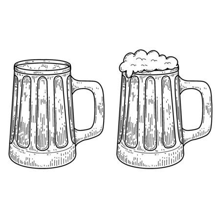 Vintage illustration of mug of beer in engraving style. Design element for label, emblem, sign. Vector illustration Ilustracje wektorowe