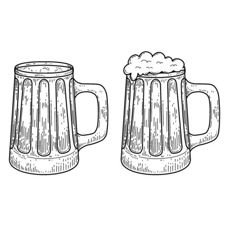 Vintage illustration of mug of beer in engraving style. Design element for label, emblem, sign. Vector illustration Vecteurs