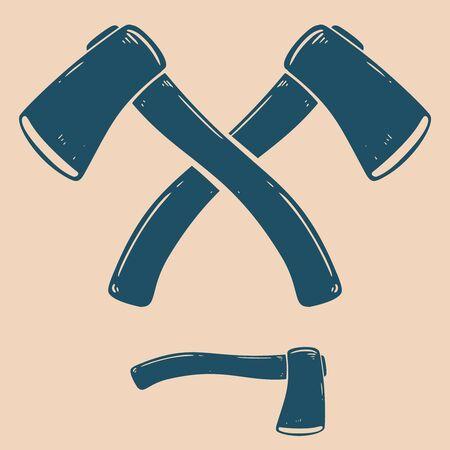 Vintage illustration of crossed camping hatchets. Design element for emblem, sign, poster, card, banner, flyer. Vector illustration
