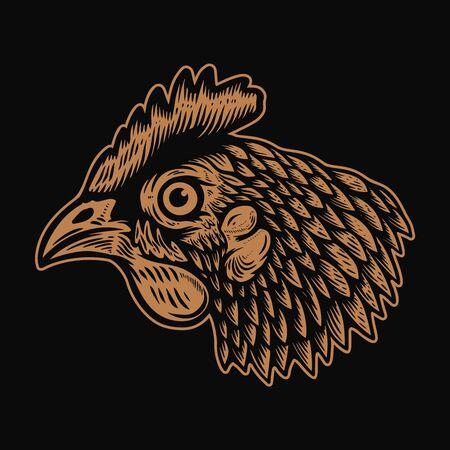 Illustration of head of chicken in engraving style. Design element for  label, sign, emblem, poster. Vector illustration