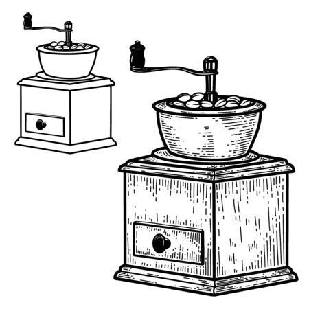Illustration of coffee mill in engraving style. Design element for   label, sign, emblem, poster. Vector illustration