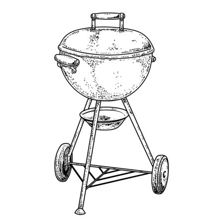 Illustration of bbq grill in engraving style.