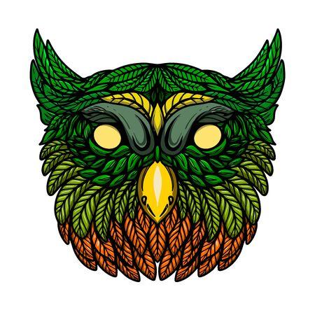 Illustration of owl head in floral style. Design element for poster, card, banner, emblem, t shirt. Vector illustration Illustration