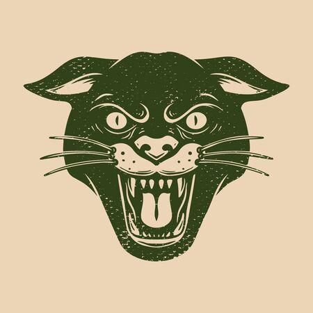 Vintage illustration of head of wild cat on grunge background. Design element for emblem, sign, poster, card, banner, flyer. Vector illustration