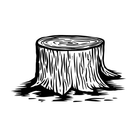 Illustration of wood stump in engraving style. Design element for emblem, sign, poster, card, banner, flyer. Vector illustration Illustration