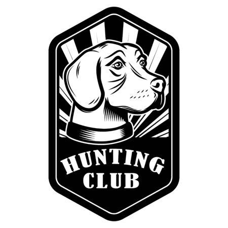Hunting club emblem template. Hunting dog. Design element for  label, sign, poster, banner. Vector illustration