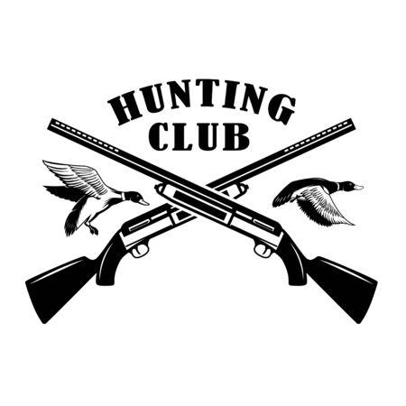 Emblem template of duck hunting club emblem with wild ducks, guns. Design element for label, sign, poster, t shirt. Vector illustration Illustration