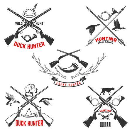 Set of hunting emblem templates. Hunting rifles, dog,duck and deer. Design element for label, sign, poster, t shirt. Vector illustration Illustration