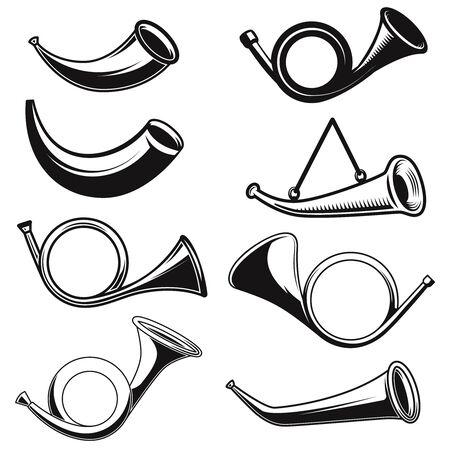 Big set of illustrations of hunting horns. Design element for  label, sign, poster, t shirt. Vector illustration Illustration