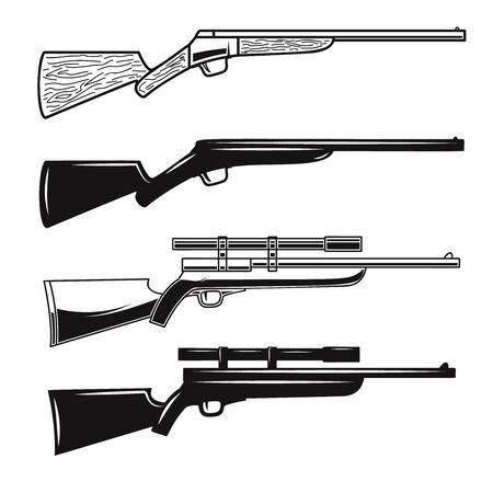 Big set of hunting guns, rifles. Design element for  label, sign, poster, t shirt. Vector illustration