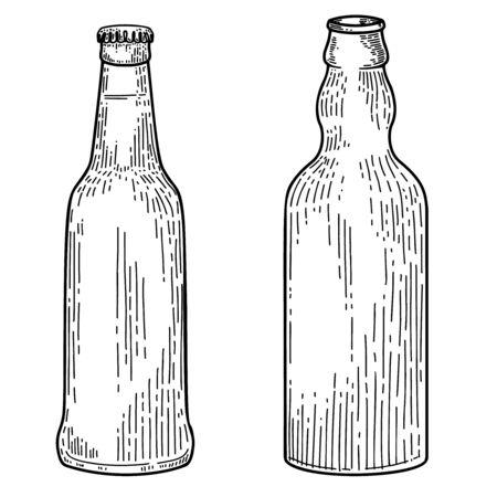 Illustration of bottles of beer in engraving style. Design element for label, emblem, sign. Vector illustration
