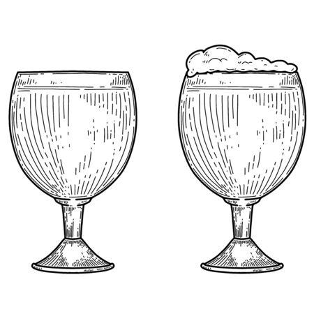 Vintage illustration of mug of beer in engraving style. Design element for label, emblem, sign. Vector illustration Illustration