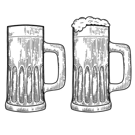 Vintage illustration of mug of beer in engraving style.
