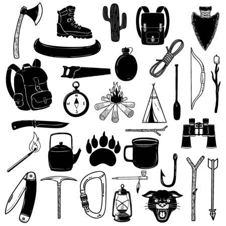 Big set of camping design elements. Tourists stuff, tents, backpacks, campfire, axes.
