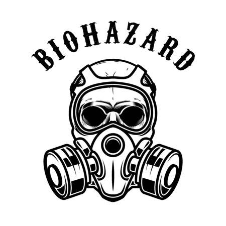 Illustration of human skull in gas mask isolated on white background. Biohazard. Coronavirus alert. Design element for poster, card, banner, flyer, emblem, sign.