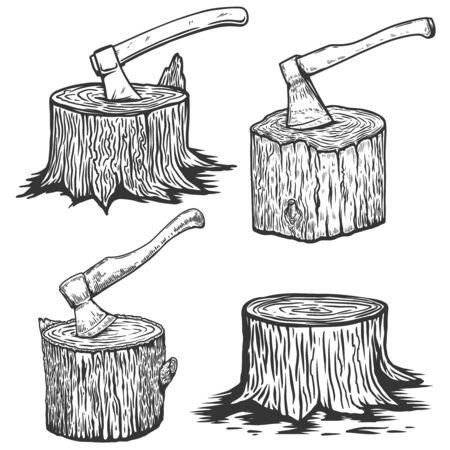 Wood slices with axe. Illustration of wood stumps in engraving style. Design element for emblem, sign, poster, card, banner, flyer. Vector illustration