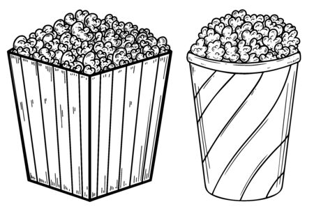 Set of Illustration of popcorn boxes in engraving style.