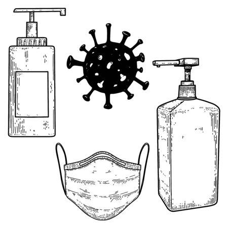 Illustration of medical mask, bottles of disinfection liquid, bacteria of coronavirus covid-19. Vector design elements Illustration