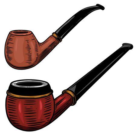 Set of Illustration of smoking pipe in engraving style.