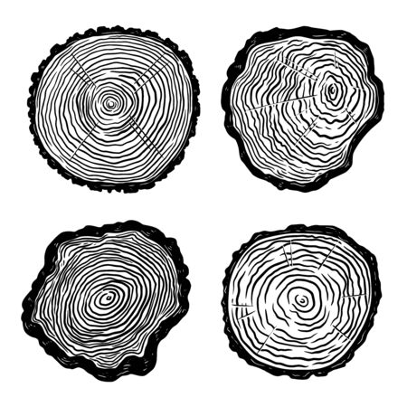 Set of illustrations of wooden cuts in engraving style. Design element for poster, label, sign, poster, t shirt. Vector illustration