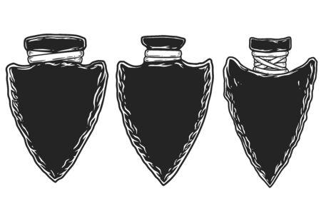 Set of illustrations of ancient stone arrowheads. Design element for emblem, sign, poster, t shirt. Vector illustration
