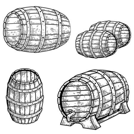 Set of illustrations of wooden barrel of beer in engraving style.