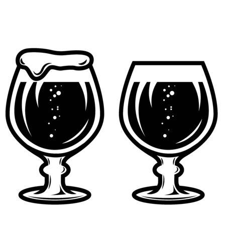 Illustration of mug of beer in engraving style. Design element for  label, sign, poster, t shirt. Vector illustration Illustration