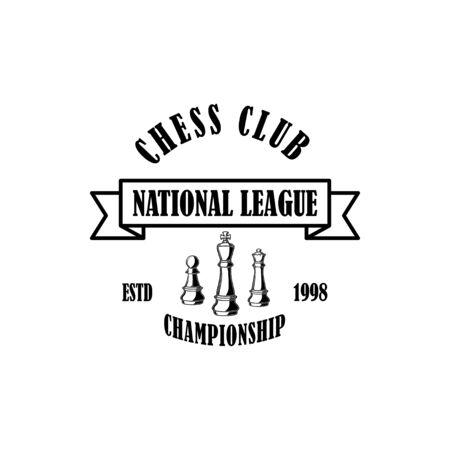 Chess club emblem template. Design element for emblem, sign, label, poster, card. Vector illustration Illustration