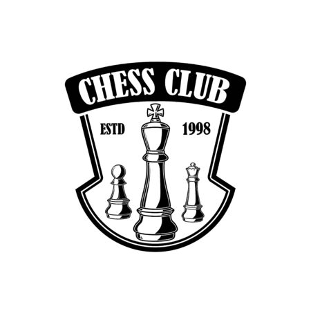 Chess club emblem template. Design element for emblem, sign,  label, poster, card. Vector illustration