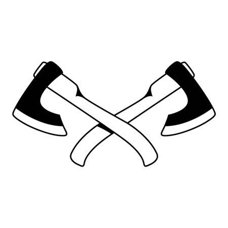Illustrations of crossed lumberjack hatchets in engraving style.