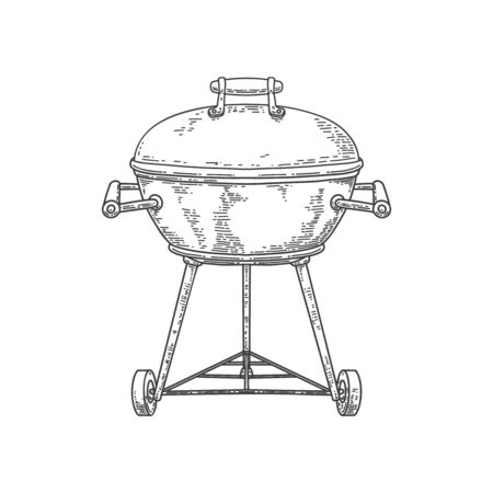 Illustration of bbq grill in engraving style isolated on white background. Design element for poster, card, banner, sign, emblem. Vector image  イラスト・ベクター素材