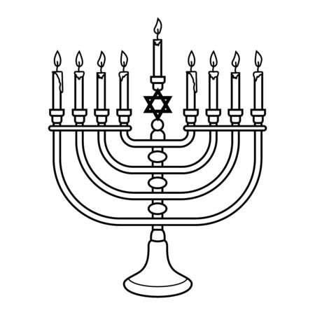 Illustration of Hanukkah candle in engraving style isolated on white background. Design element for poster, card, banner, sign, emblem. Vector image Illustration