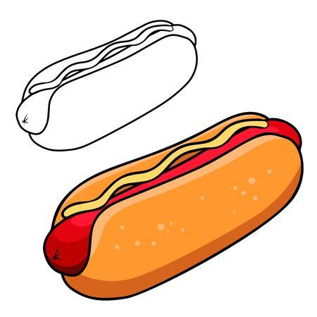 illustration of hot dog in engraving style. Design element for poster, label, sign, emblem, menu. Vector illustration