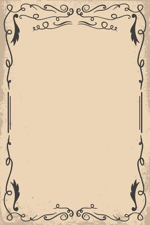 Vintage empty frame in wild west style. Vector design element for poster, card, banner, flyer.