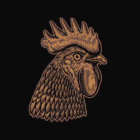 Illustration of head of rooster in engraving style. Design element for  label, sign, emblem, poster. Vector illustration Illustration