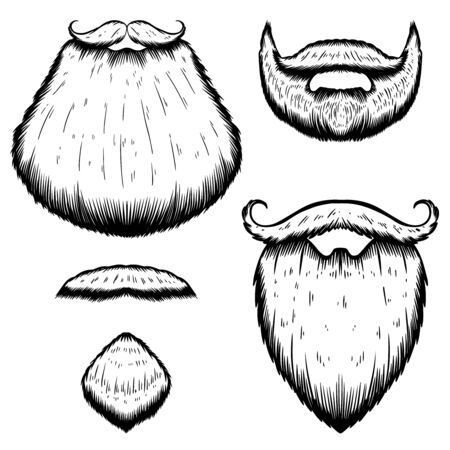 Set of Illustration of beard in engraving style on white background. Design elements for poster, t-shirt. Vector illustration.
