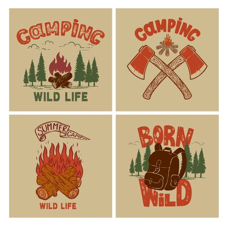 Set of  Vintage poster designs with mountains, forest silhouettes, campfire, tourist backpack. Illustration