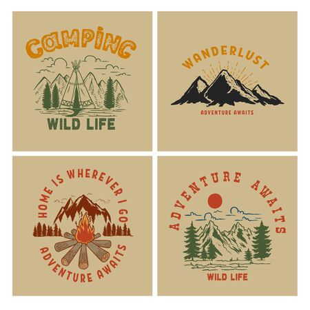 Set of Vintage poster designs with mountains, forest silhouettes, campfire, tourist backpack. Vetores