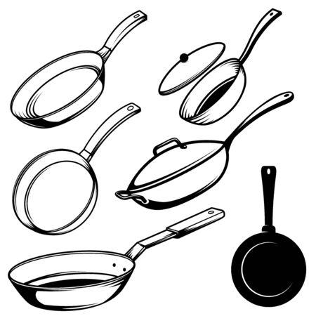 Set of illustrations of cooking pans in engraving style. Design element for poster, label, sign, emblem, menu. Vector illustration