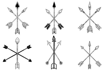 Set of illustrations of ancient crossed arrows of native americans in engraving style. Design element for poster, label, sign, emblem, menu. Vector illustration Illustration