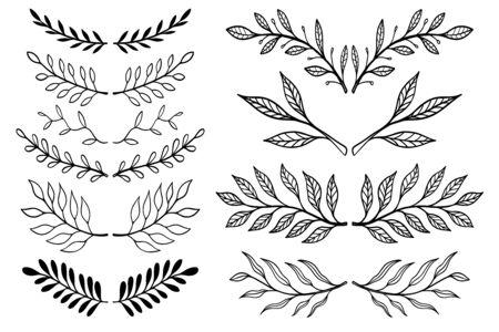 Set of Illustrations of vintage hand drawn floral design elements. Design element for  label, sign, poster, t shirt. Vector illustration